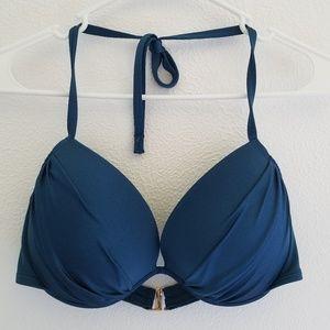Victoria's Secret Halter Top Solid Blue Bikini